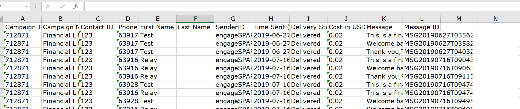 EngageSpark SMS Drip Campaign Excel Report