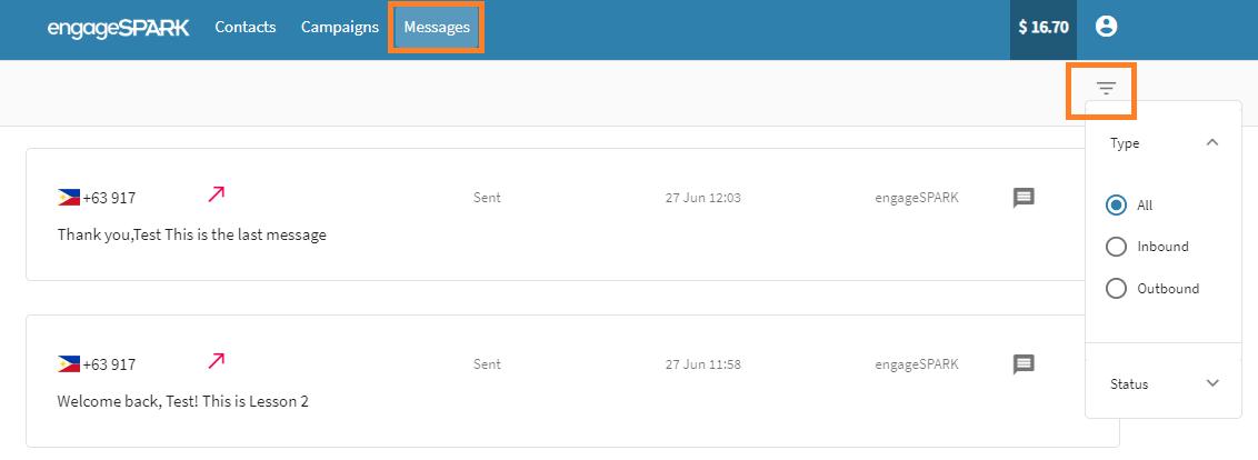 engageSPARK Platform Messages Tab