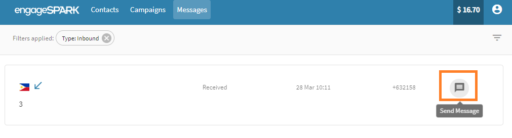 engageSPARK Platform: Send SMS to subscriber